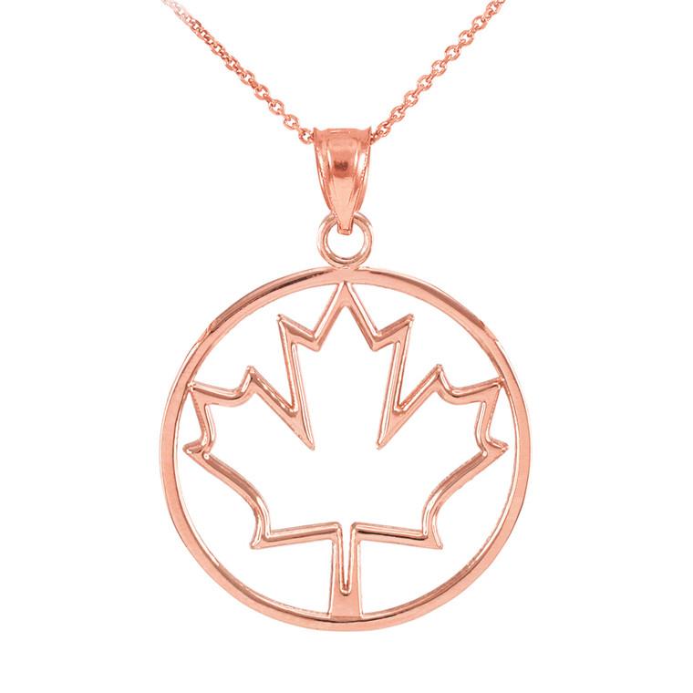Rose Gold Maple Leaf Open Design Pendant Necklace