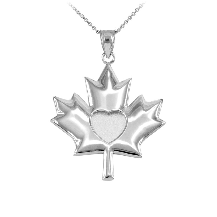 Solid White Gold Heart Maple Leaf Pendant Necklace