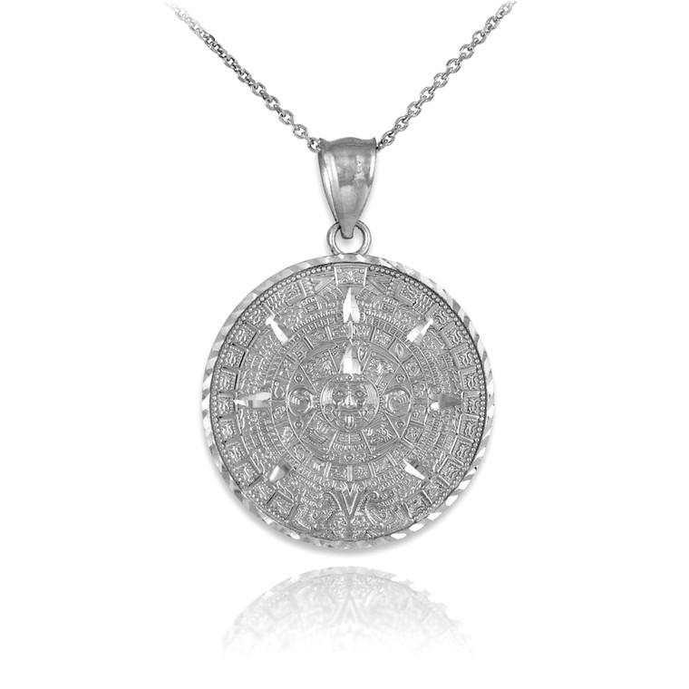 White Gold Aztec Mayan Sun Calendar Pendant Necklace