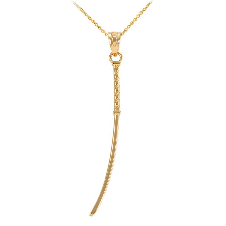 Gold Katana Samurai Japanese Long Sword Pendant Necklace