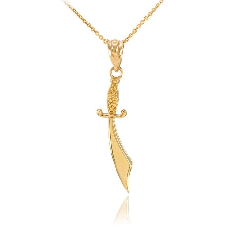 Polished Gold Scimitar Sword Necklace