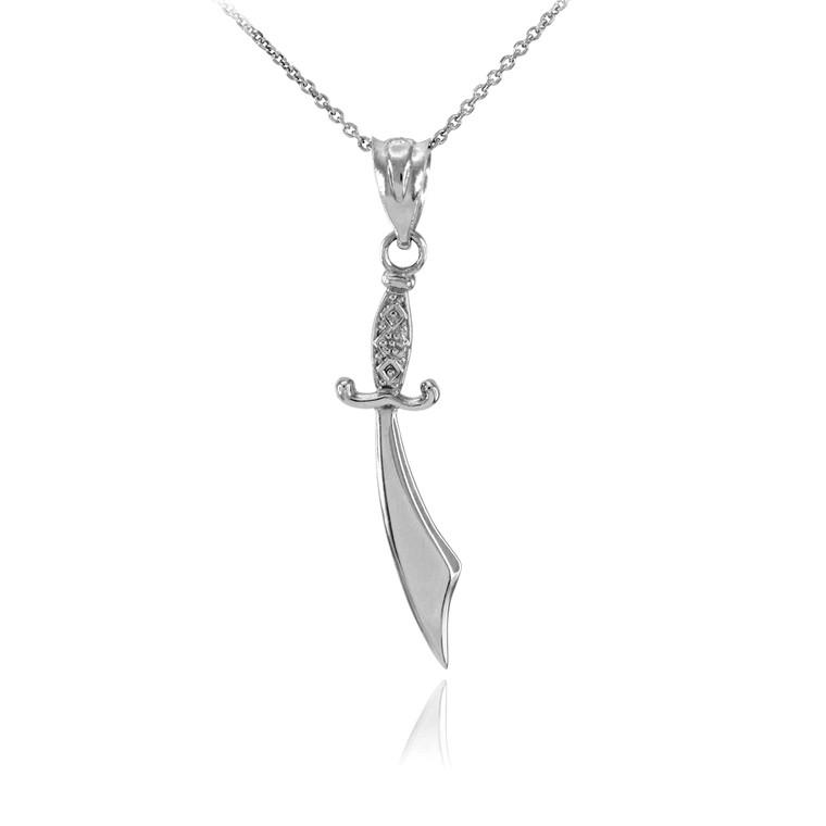 Polished Sterling Silver Scimitar Sword Necklace