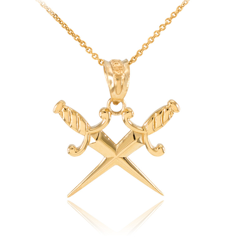Yellow Gold Crossed Daggers Pendant Necklace