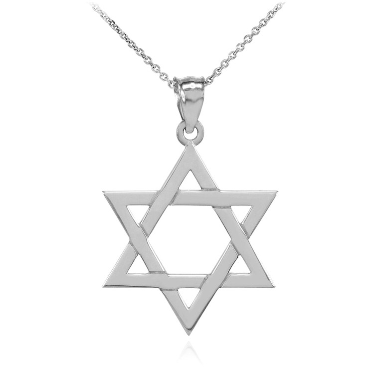 White Gold Jewish Star of David Charm Pendant Necklace (Small)
