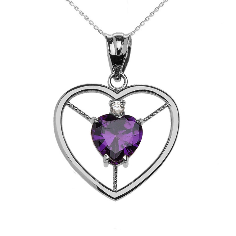 Elegant Sterling Silver CZ and February Birthstone Purple Heart Solitaire Pendant Necklace