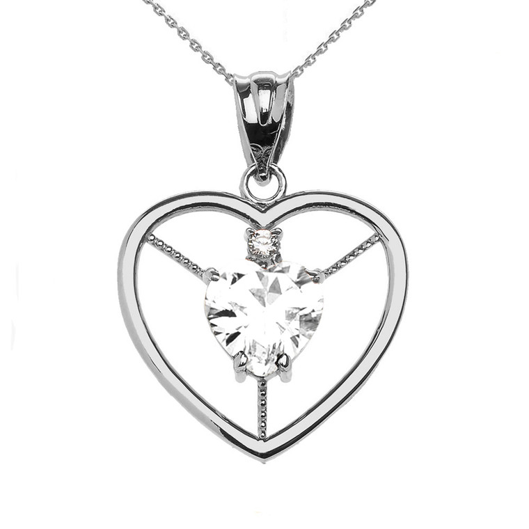Elegant Sterling Silver CZ and April Birthstone White CZ Heart Solitaire Pendant Necklace