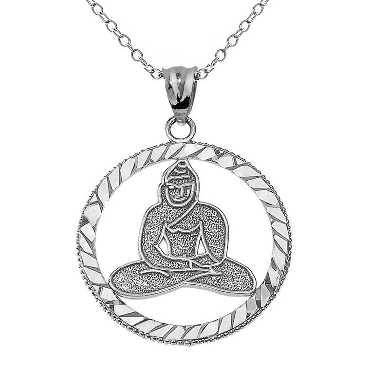 Sterling Silver Meditating Buddha Pendant Necklace