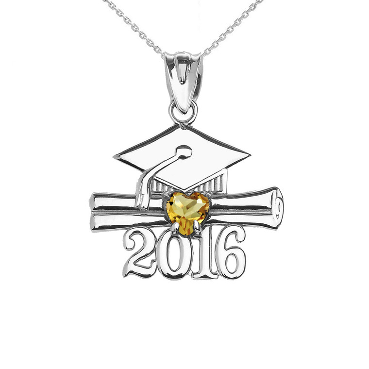 Sterling Silver Heart November Birthstone Yellow Cz Class of 2016 Graduation Pendant Necklace