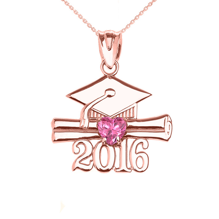 Rose Gold Heart October Birthstone Pink Cz Class of 2016 Graduation Pendant Necklace