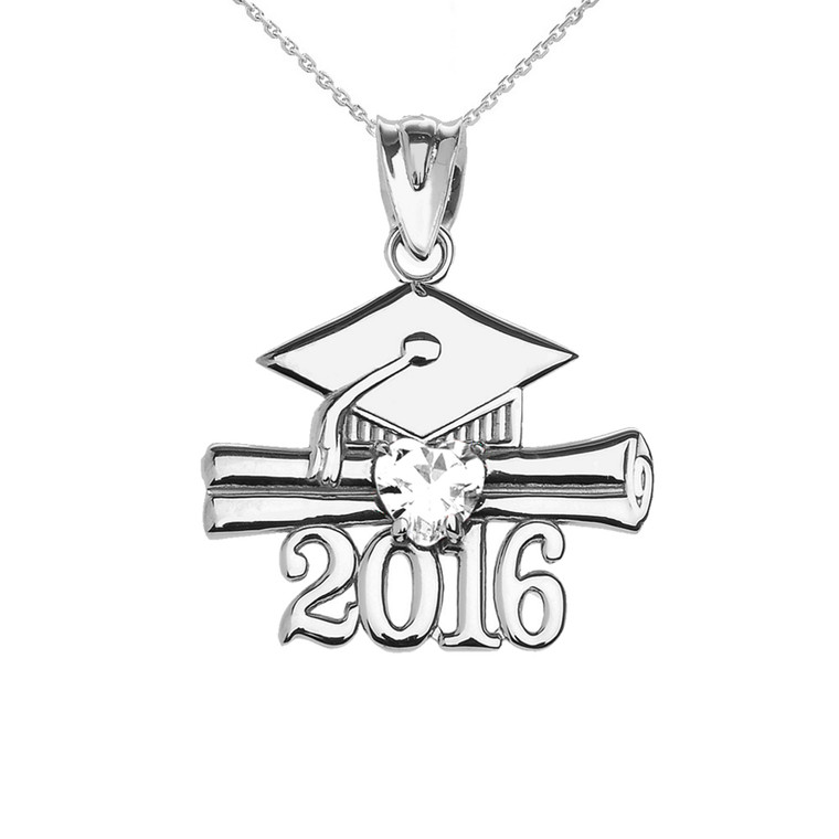 Sterling Silver Heart April Birthstone White Cz Class of 2016 Graduation Pendant Necklace