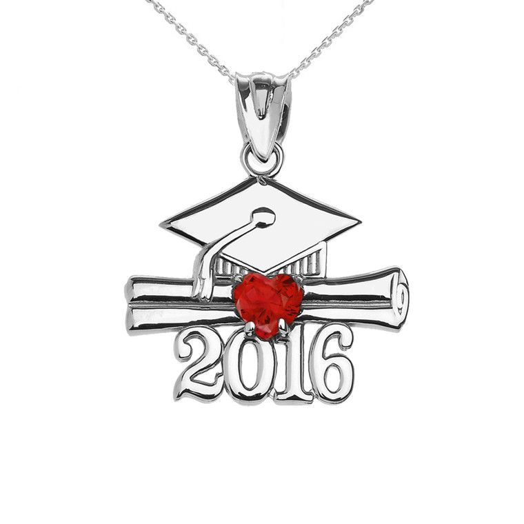 Sterling Silver Heart July Birthstone Red Cz Class of 2016 Graduation Pendant Necklace