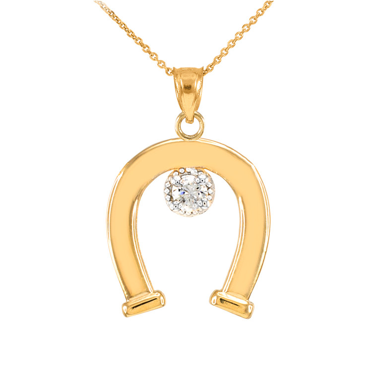 Yellow Gold CZ-Studded Lucky Horseshoe Pendant Necklace