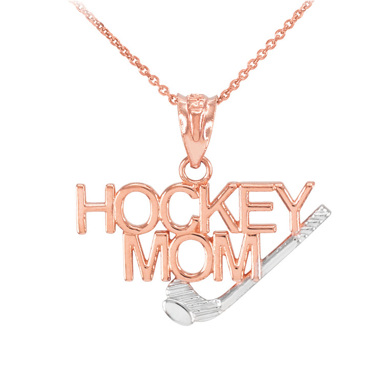 Two-Tone Rose Gold HOCKEY MOM Sports Pendant Necklace
