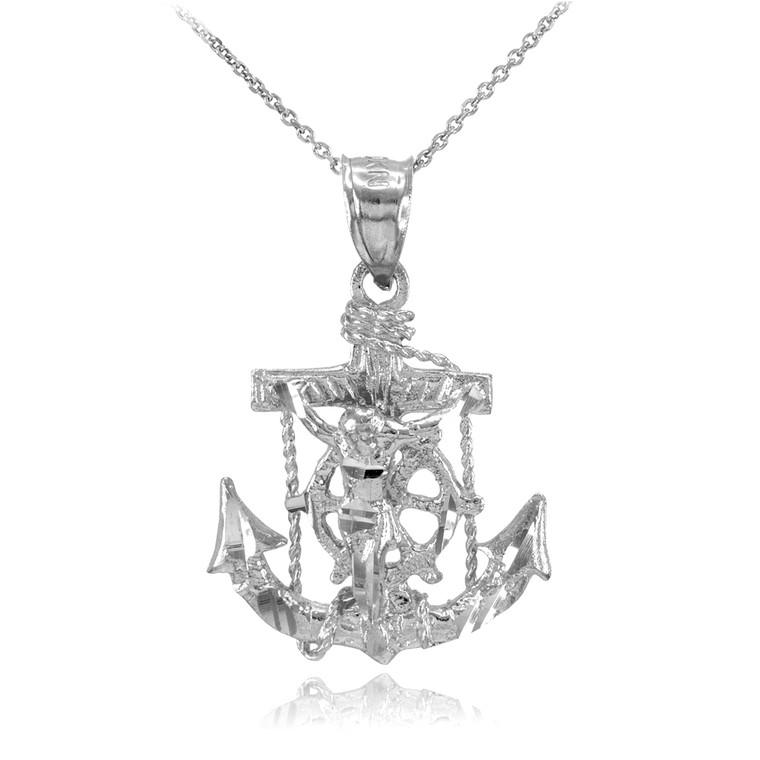 Silver Mariner Crucifix Anchor Cross Pendant Necklace