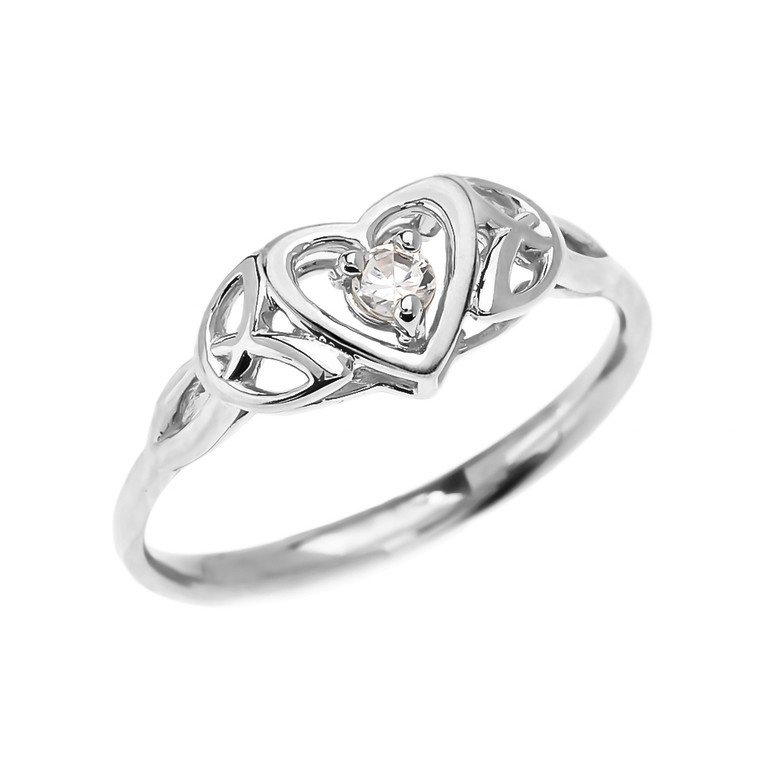 Trinity Knot Heart Solitaire CZ (Cubic zirconia) White Gold Engagement Proposal Ring