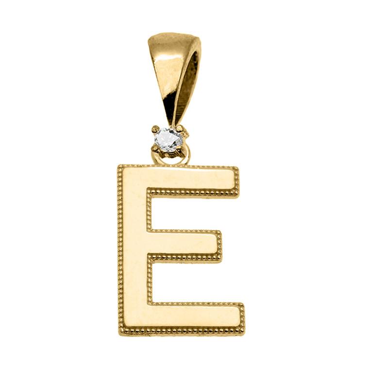"Yellow Gold High Polish Milgrain Solitaire Diamond ""E"" Initial Pendant Necklace"