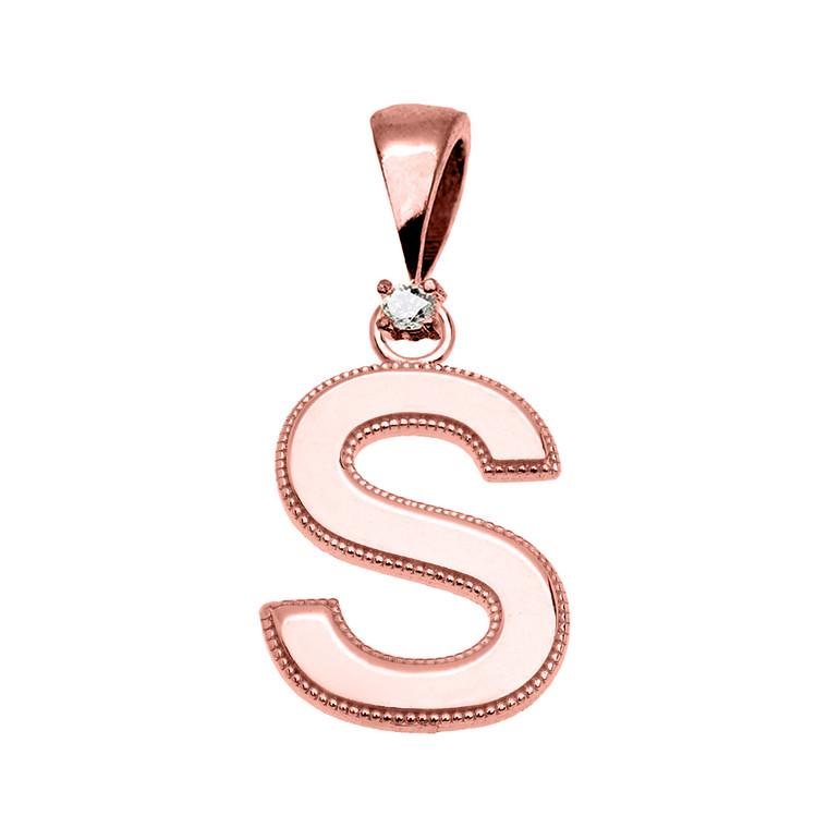 "Rose Gold High Polish Milgrain Solitaire Diamond ""S"" Initial Pendant Necklace"