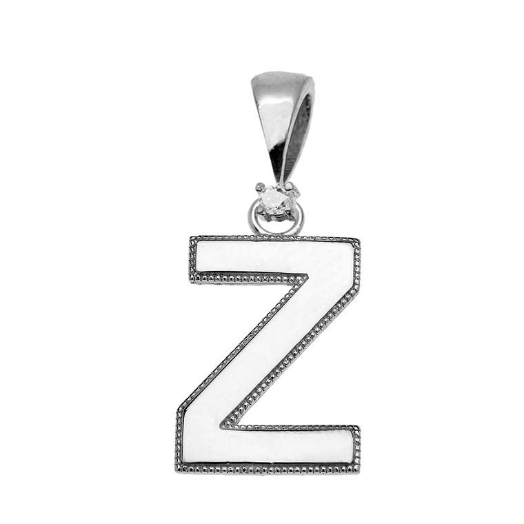 "White Gold High Polish Milgrain Solitaire Diamond ""Z"" Initial Pendant Necklace"
