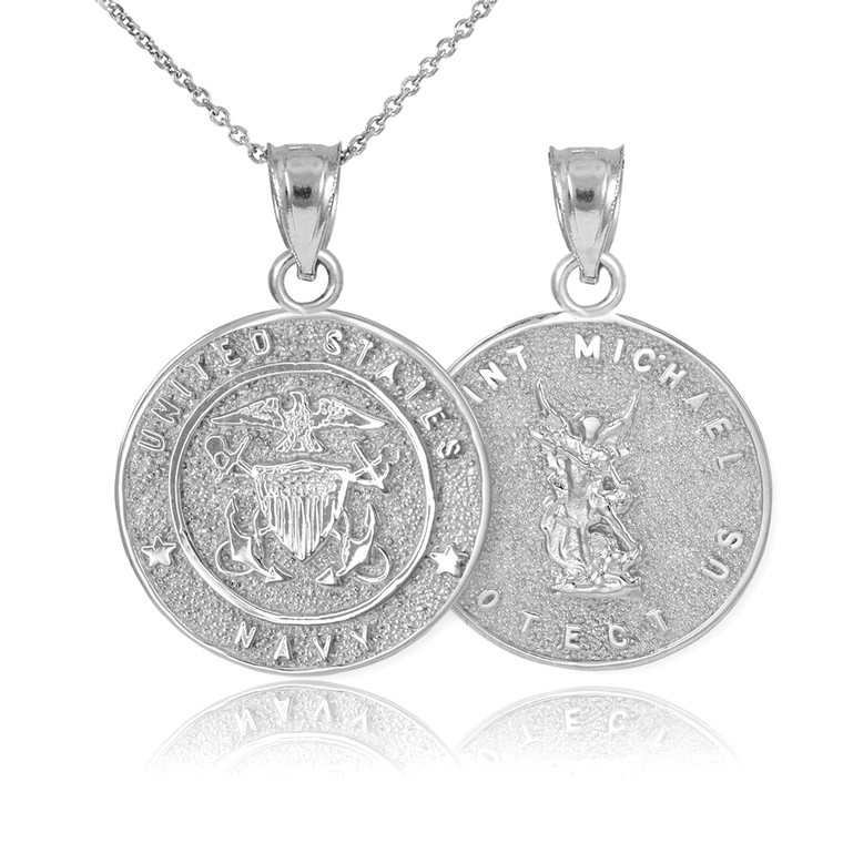 Sterling Silver US Navy Reversible St. Michael Pendant Necklace