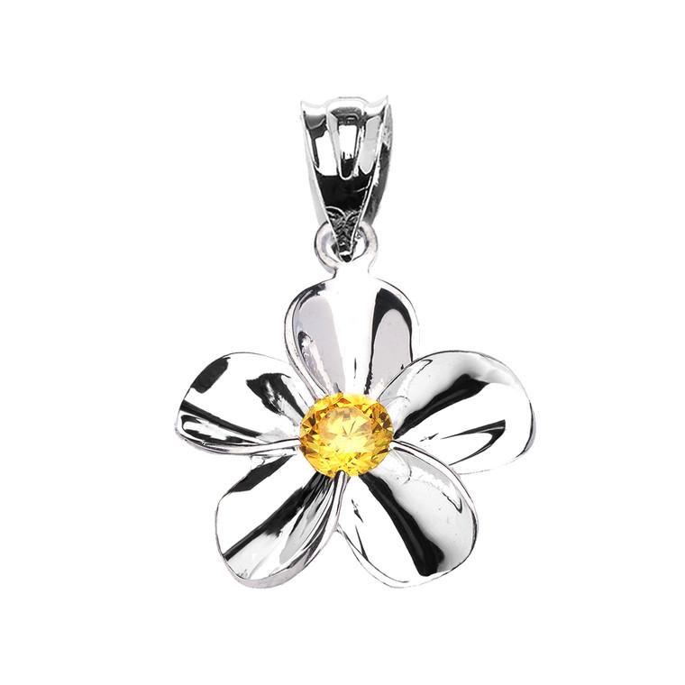 Sterling Silver Hawaiian Plumeria Citrine Dainty Pendant Necklace