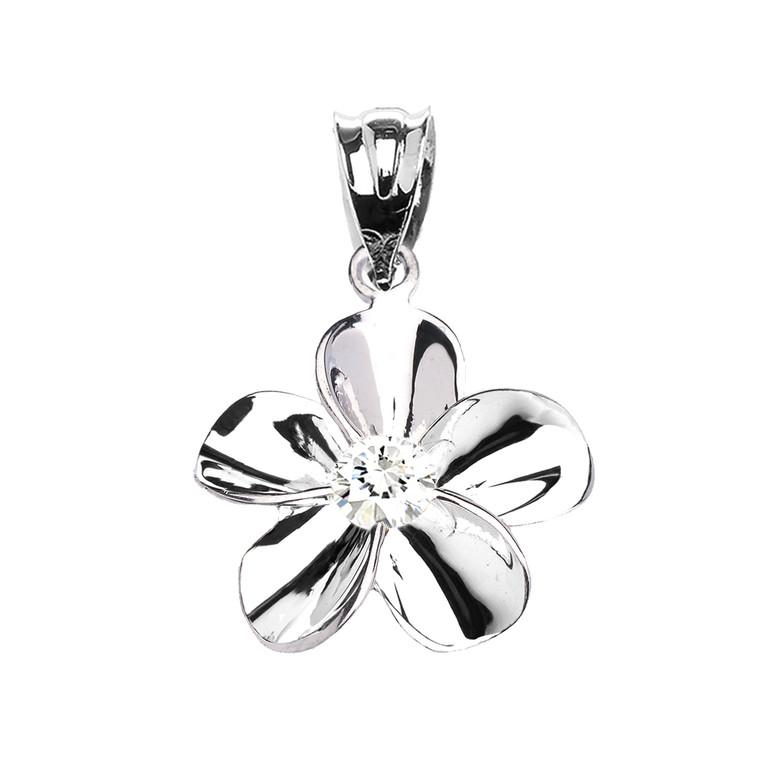 Sterling Silver Hawaiian Plumeria Cubic Zirconia Dainty Pendant Necklace