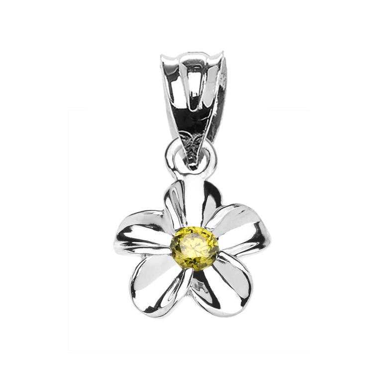 Delicate White Gold Hawaiian Plumeria Peridot Charm Pendant Necklace