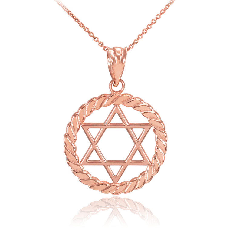 Rose Gold Jewish Star of David in Circle Rope Pendant Necklace