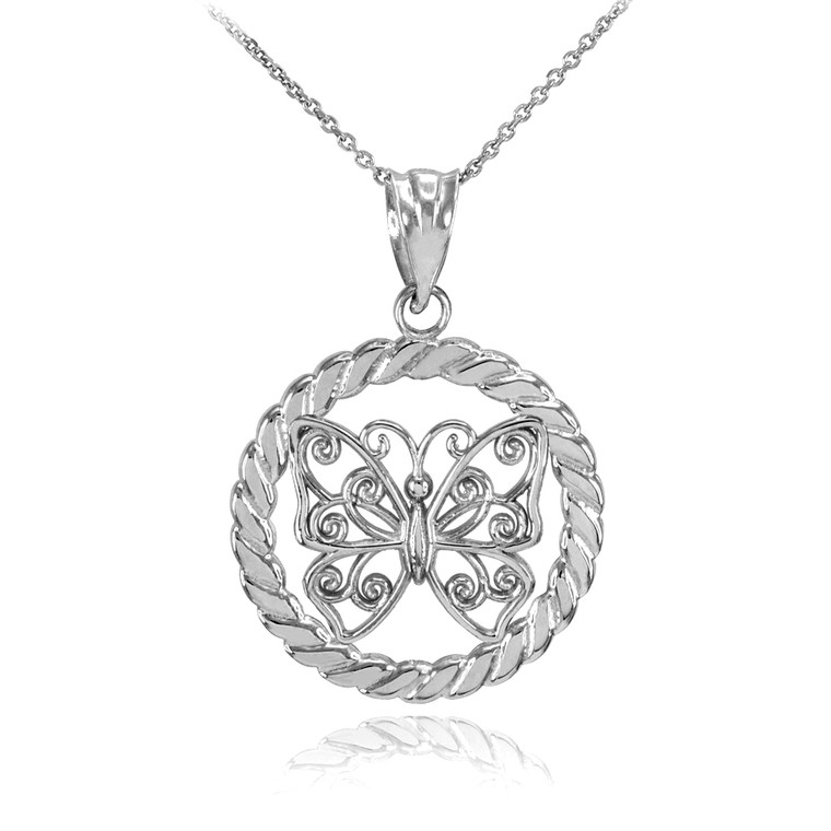 White Gold Filigree Butterfly in Circle Rope Pendant Necklace