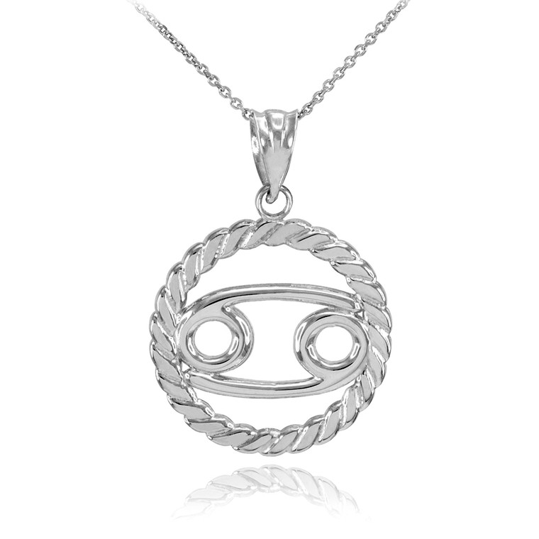 Sterling Silver Cancer Zodiac Sign in Circle Rope Pendant Necklace