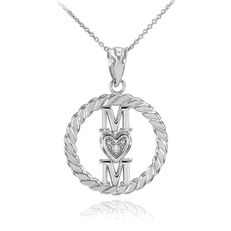 Silver Roped Circle Mom Love Heart with CZ Pendant Necklace