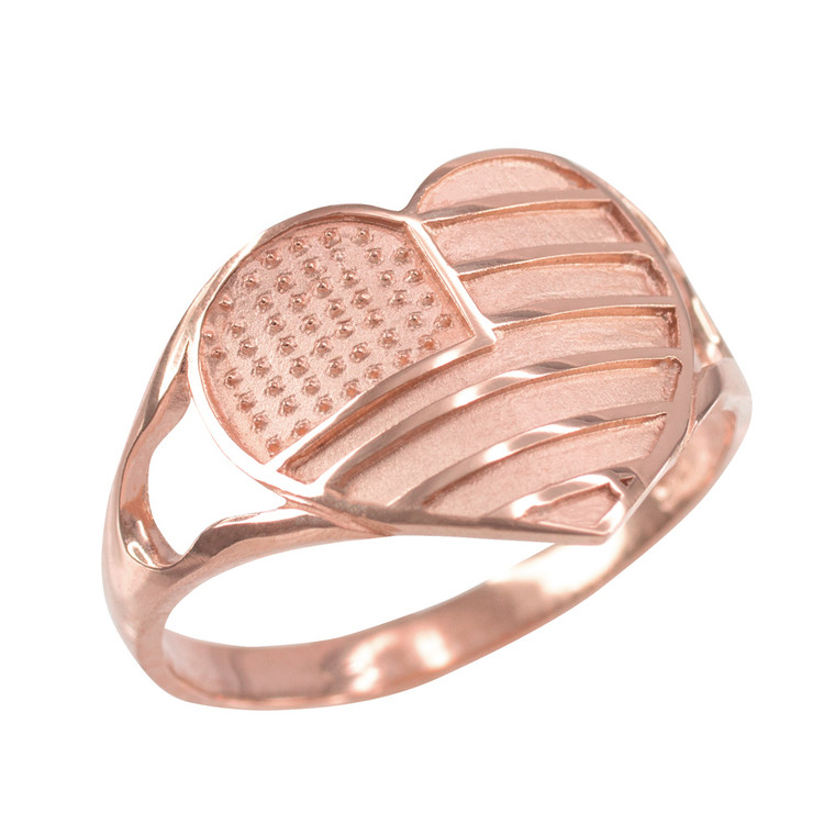 Rose Gold Heart Shaped US American Flag Ring