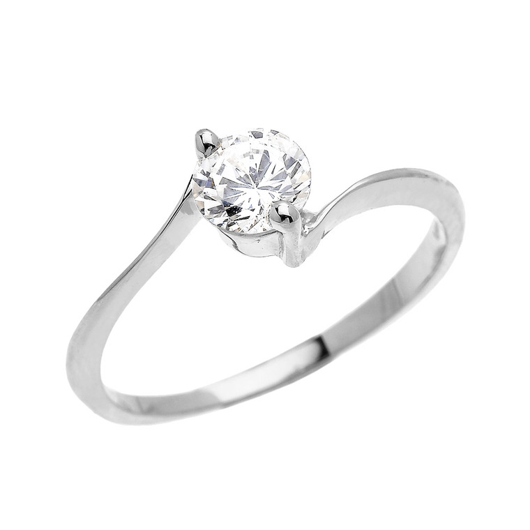 White Gold Modern Solitaire CZ Dainty Engagement Proposal Ring