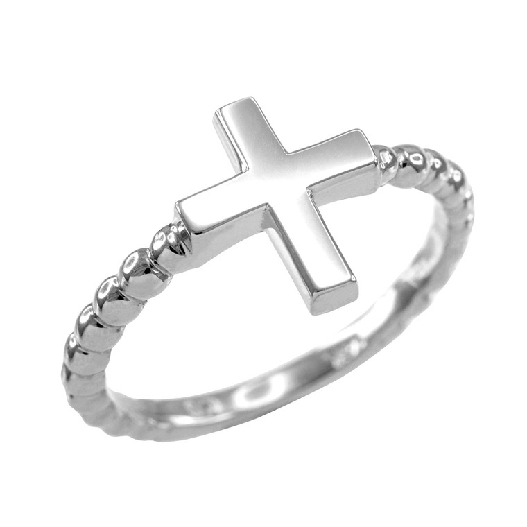 Sterling Silver Flat Top Cross Beaded Ring