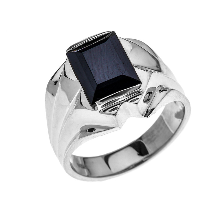 Men's Sterling Silver 4 Carat Black Onyx Bold Solitaire Ring