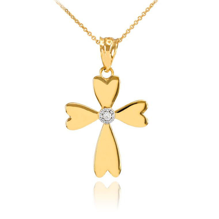 Gold Solitaire Diamond Heart Cross Charm Pendant Necklace