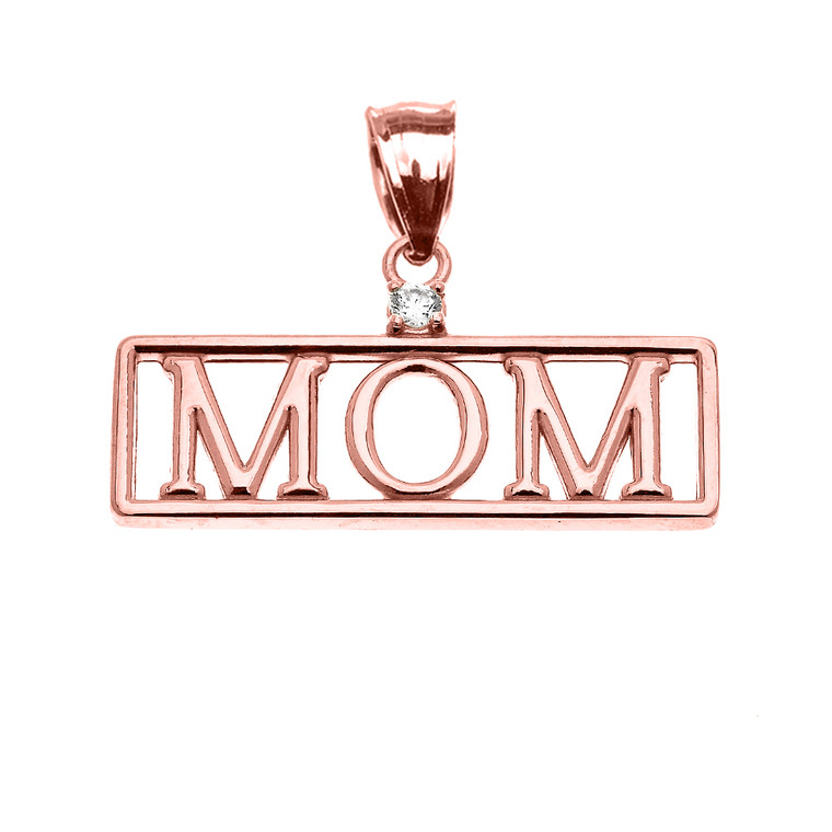 "Rose Gold ""MOM"" Cubic Zirconia Pendant Necklace"