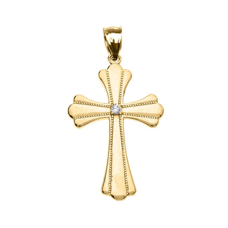Yellow Gold Solitaire Cubic Zirconia High Polish Milgrain Cross Pendant Necklace