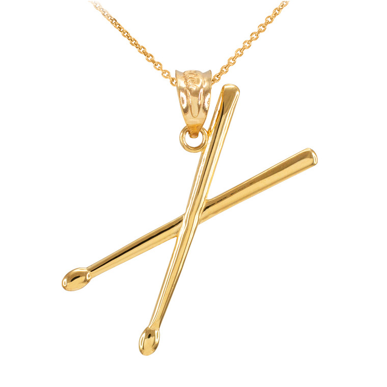 Yellow Gold 3D Drum Sticks Pendant Necklace