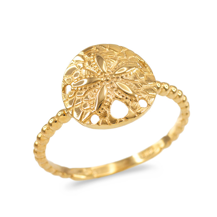 Fine Yellow Gold Beaded Band Sand Dollar Ring