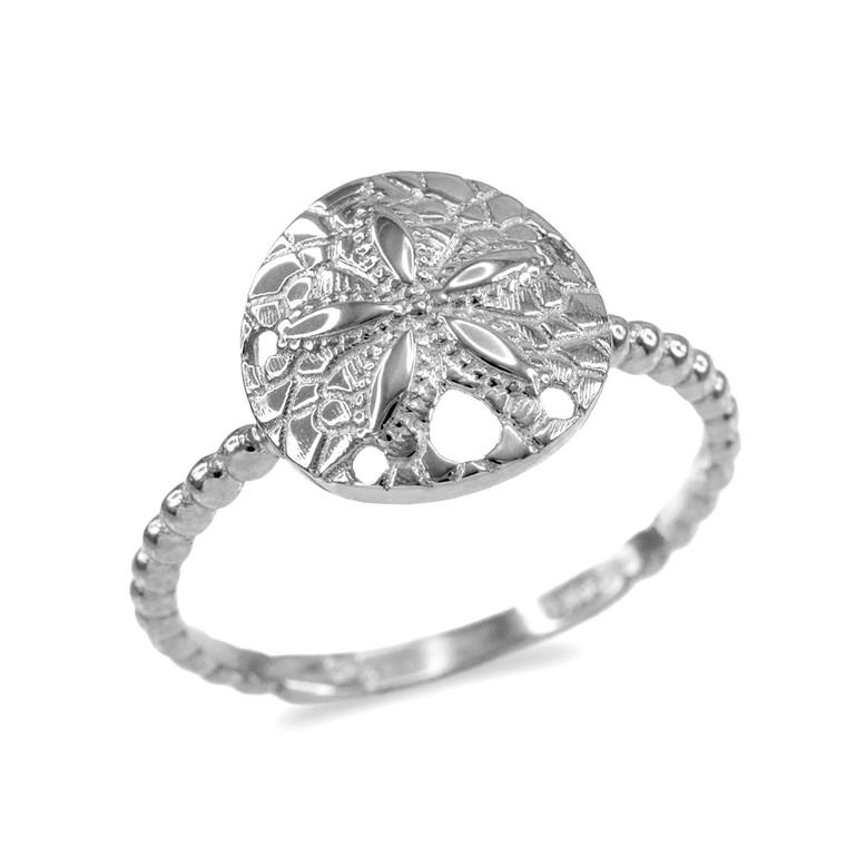Fine White Gold Beaded Band Sand Dollar Ring