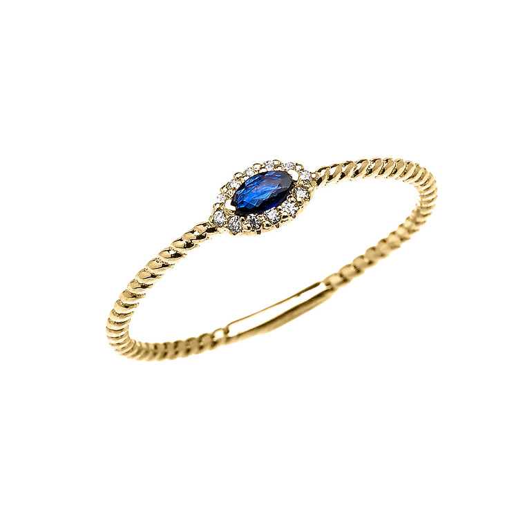 Yellow Gold Dainty Halo Diamond and Marquise Sapphire Solitaire Rope Design Promise/Stackable Ring