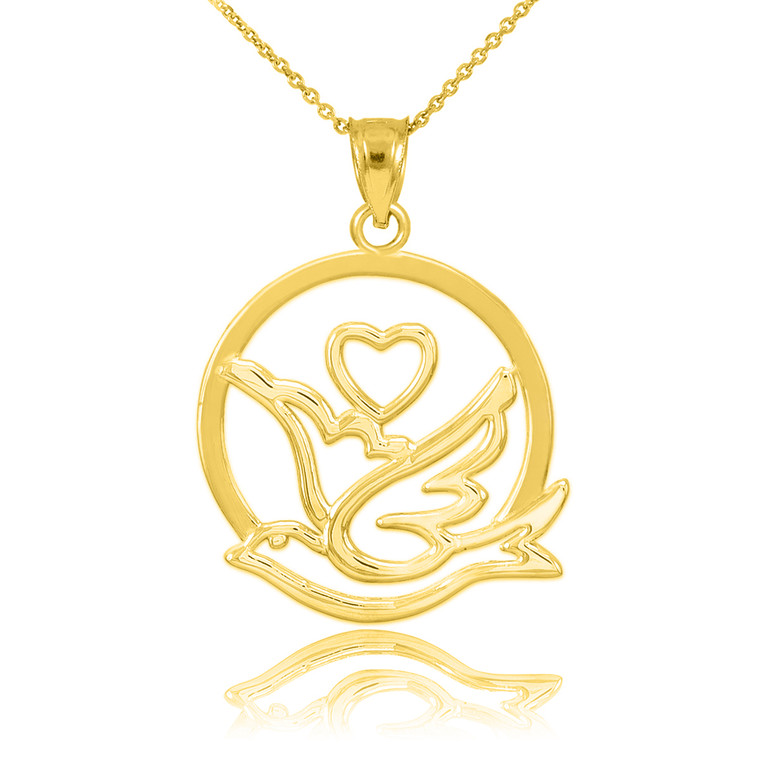 Yellow Gold Love Dove with Heart Pendant Necklace