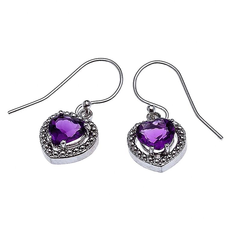 Sterling Silver Dangling Amethyst Heart Earrings