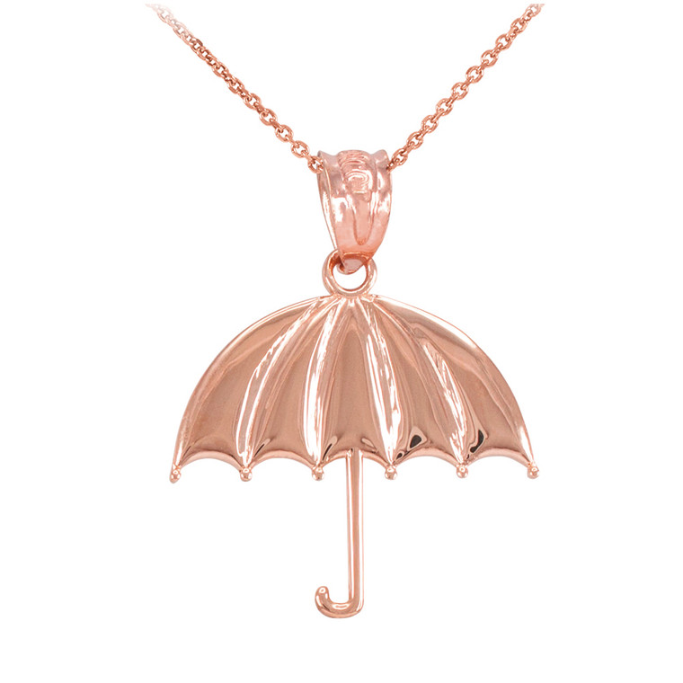 Rose Gold Open Umbrella Pendant Necklace