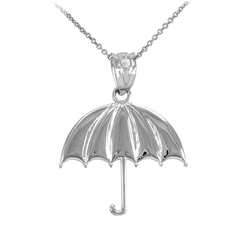 Sterling Silver Open Umbrella Pendant Necklace
