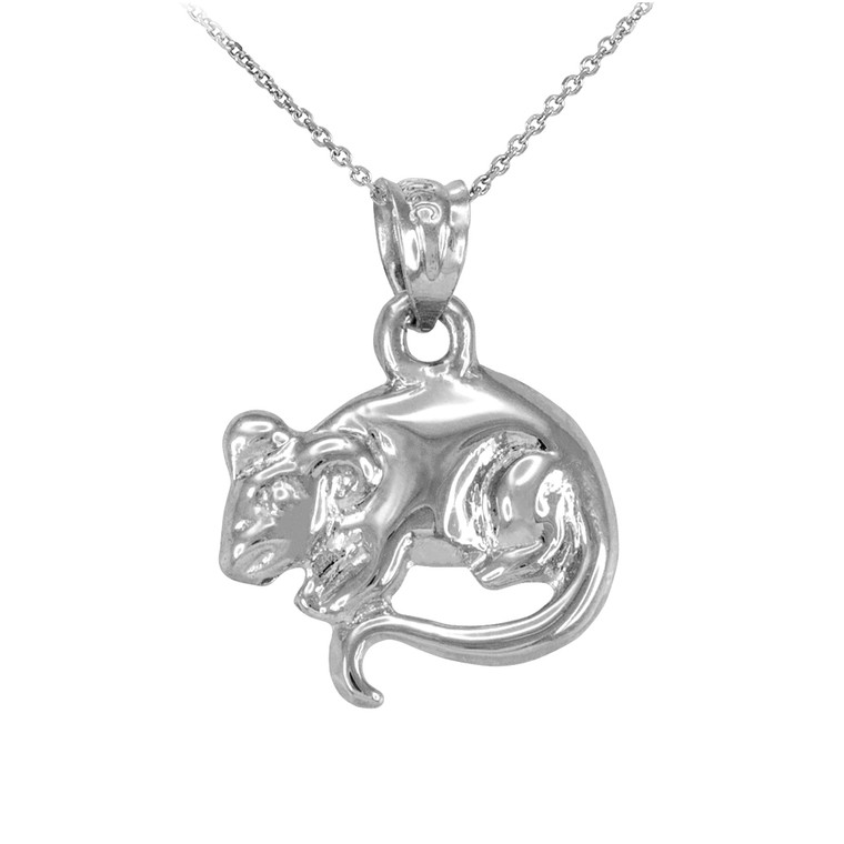 Polished White Gold Rat Mouse Charm Necklace