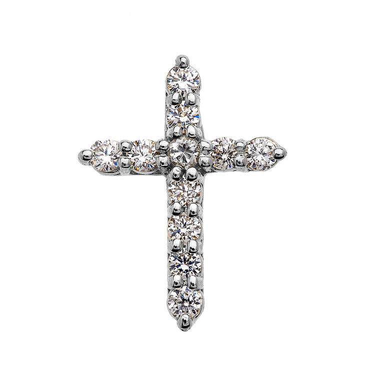 Elegant White Gold 1 Carat Round Cubic Zirconia Extra Small Cross Pendant Necklace