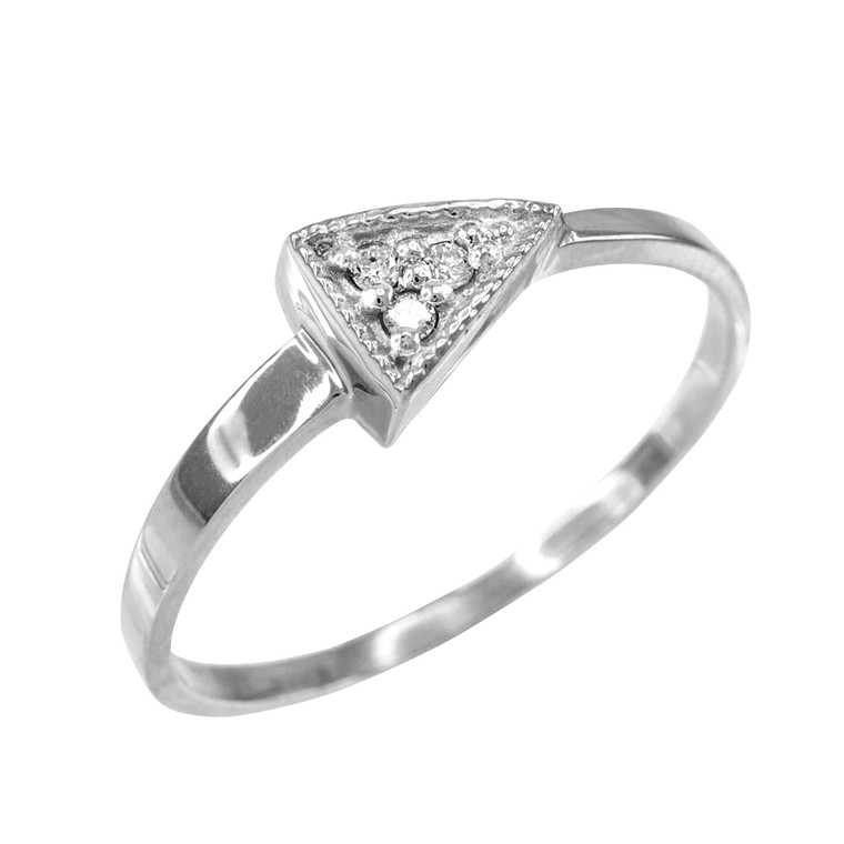 Fine White Gold Geometric Design Dainty Triangle Ring with Diamonds