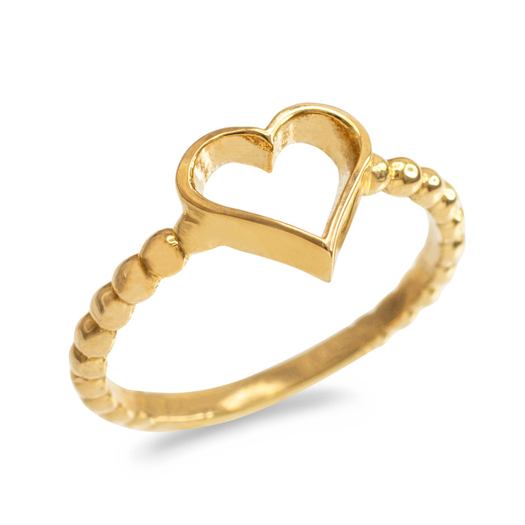 Gold Classic Open Heart Ring