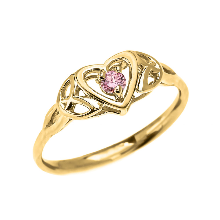 Trinity Knot Heart Solitaire Pink CZ (Cubic zirconia) Yellow Gold Proposal Ring